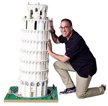 The Tower of Pisa, made from Lego bricks.