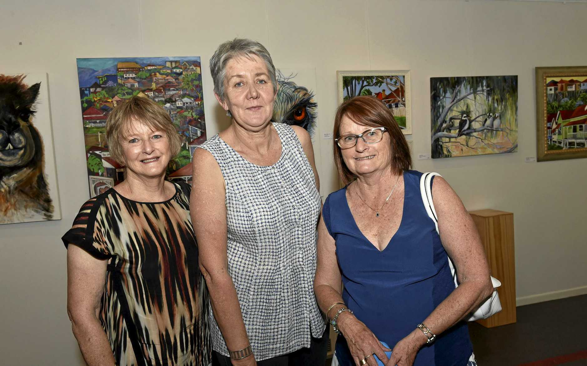 Guests at the opening, from left, Anne Stevens, Janice Gleeson and Brenda Richards. From Country to City, an exhibition of artworks by Ros Cranch & Lyn Watts at the Toowoomba Art Society. November 5, 2016