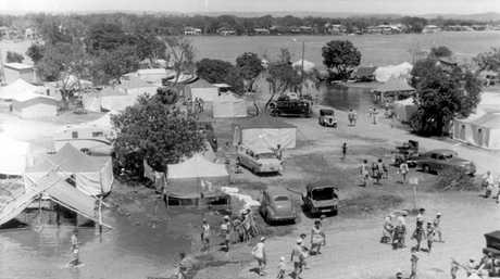 LEFT: Flooded campsites, Cotton Tree camping ground in 1954.