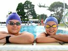 Twin Towns swim club members Brendan Piccini, 14, and Shar Merchant, 9, getting some practice in at Oasis Pools, Banora Point, ahead of Saturday's Twin Towns Mini-Maxi swimming championships