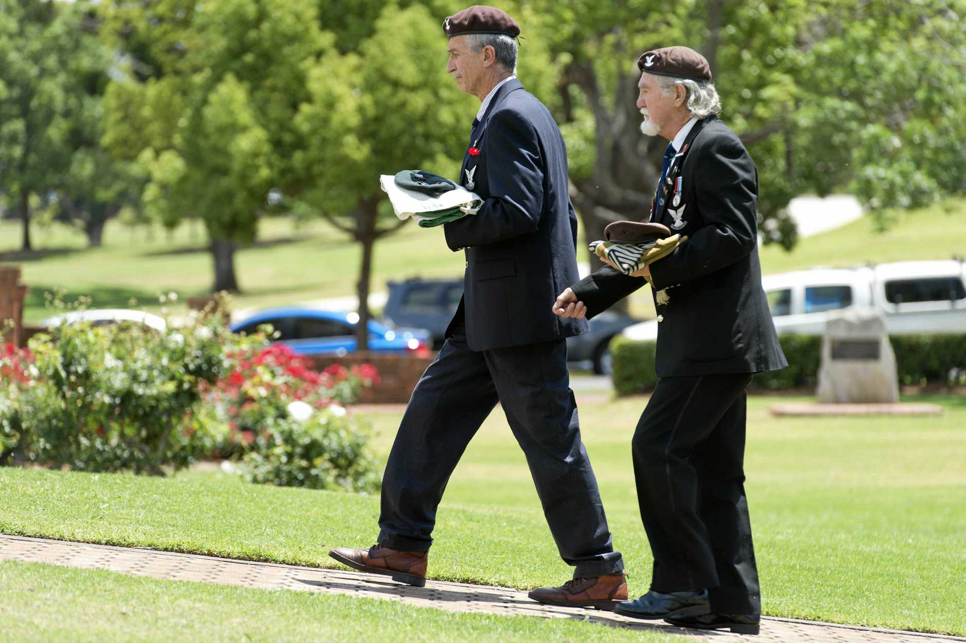 Representing Rhodesia's Selous Scouts Sgt Pete Shore (front) and Sgt Wally Insch at the Toowoomba Remembrance Day service at Mothers' Memorial.