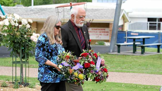 Kay Cockrell and Ernie Jones lay wreathes at the Stanthorpe Remembrance Day service.