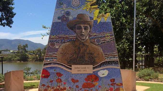 Tributes for Remembrance Day at the John Leak memorial in Rockhampton.