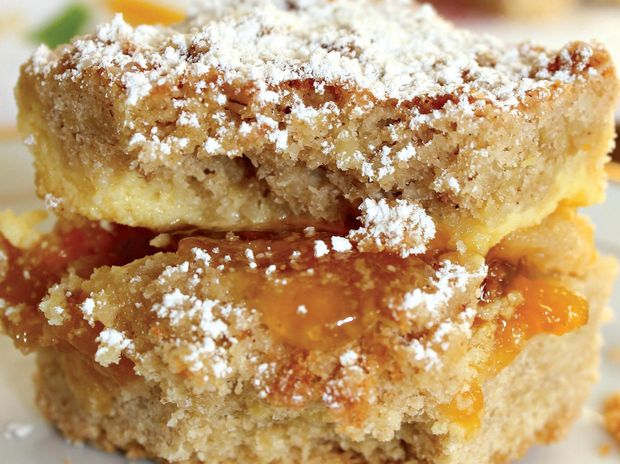This peach jam slice is perfect for picnics.