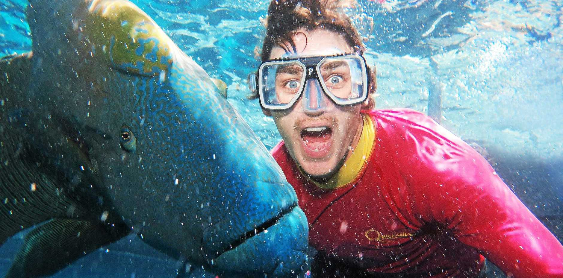 Paul Bass shows his fishface off to a maori wrasse at Agincourt Reef