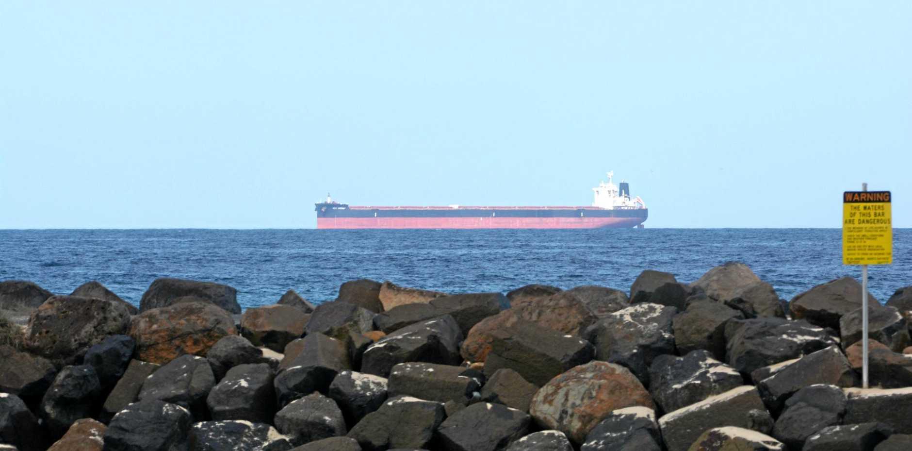 Liberian-registered bulk carrier Red Cherry off the coast of Kingscliff.