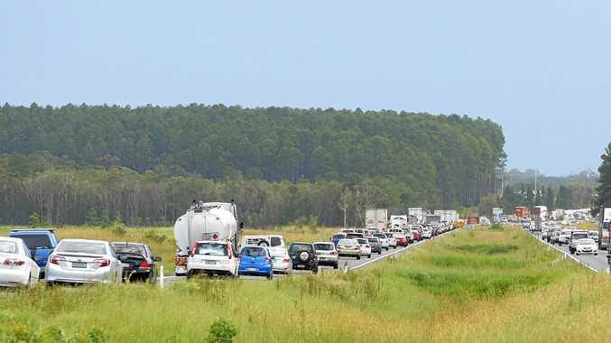 Traffic chaos on the Bruce Highway. Photo: Brett Wortman / Sunshine Coast Daily