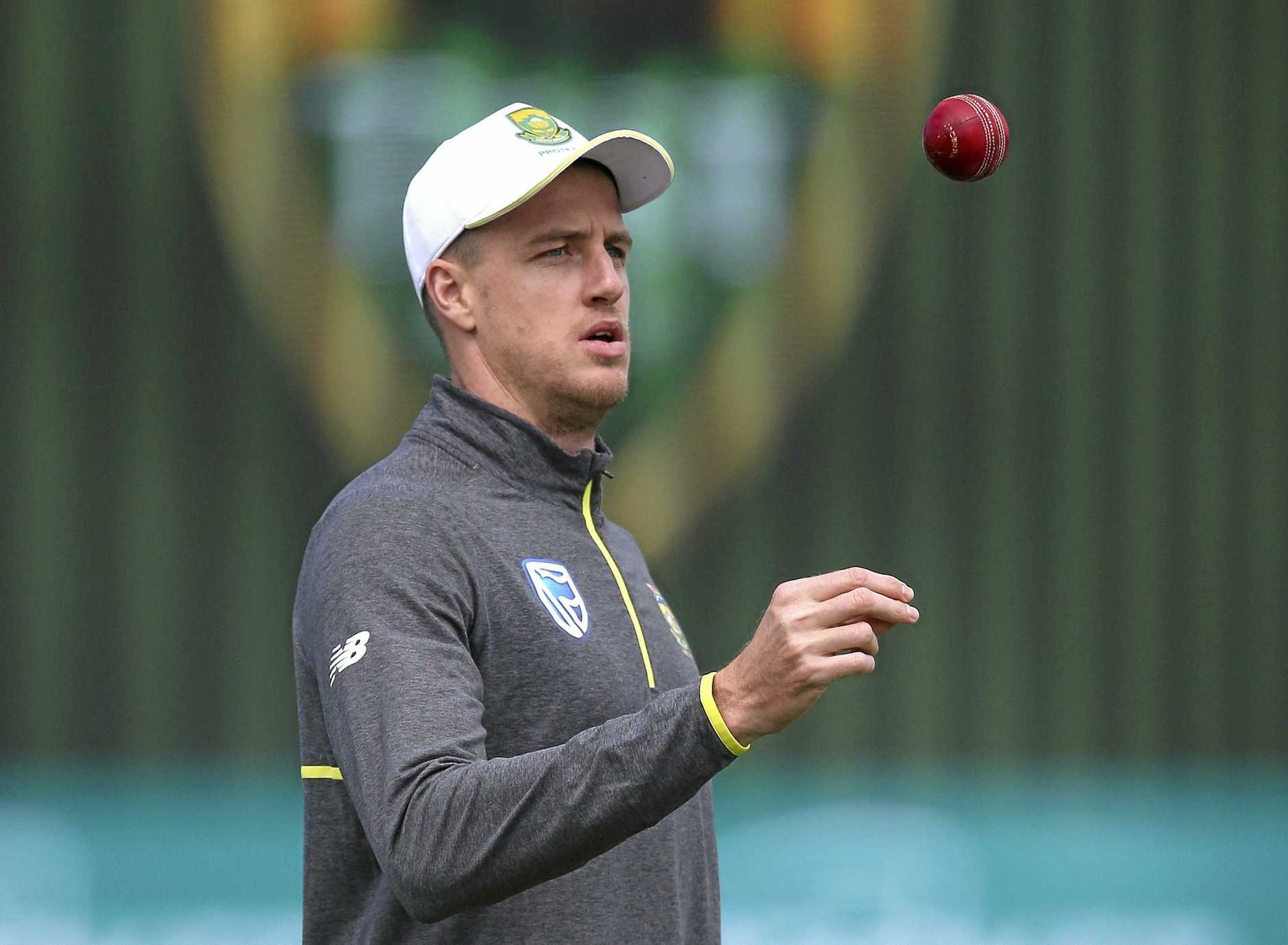 South Africa's Morne Morkel flips the ball up as he inspects the wicket at Hobart.