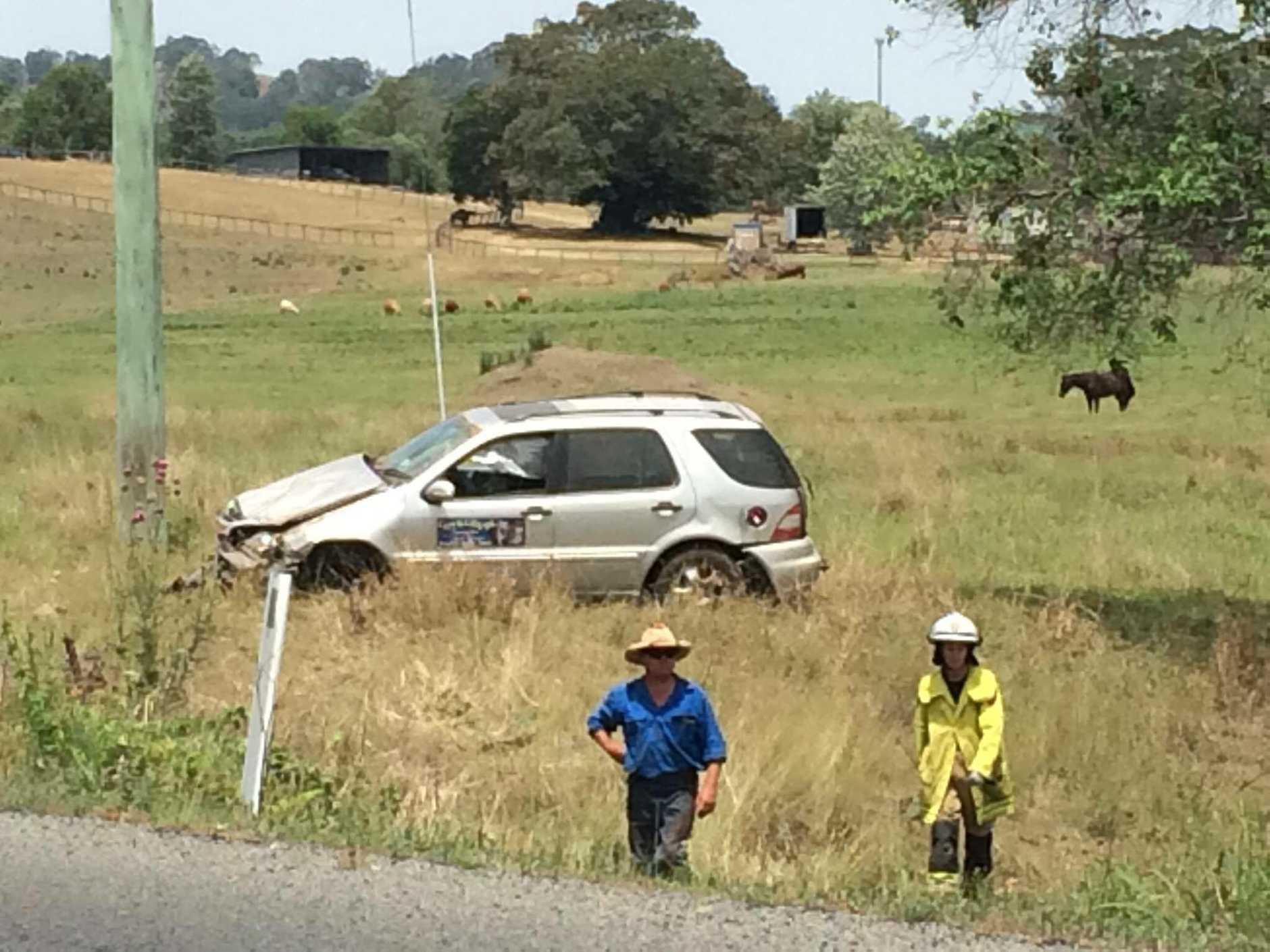 Police say the car rolled multiple times after it left the road.