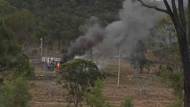 The substation on the corner of the Wide Bay Hwy and Rossmore Rd caught fire yesterday.