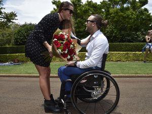 Stroll through park turns into flash-mob wedding proposal