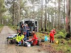Bellingen man Tim Cadman was airlifted to Lismore Hospital after he was bitten by a suspected tiger snake while bushwalking in a remote forest near Ebor.