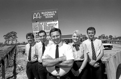 COUNTING DOWN: Ron Reseck (centre) and staff members (from left) Dean Bennett, Brent Gilmore, Angela Grieve and Trevor Rogers outside Mackay's first McDonald's Restaurant ahead of its opening in 1990.