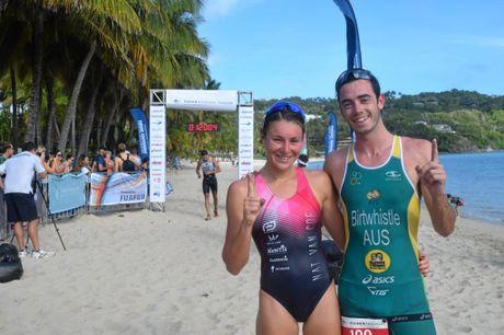 Hamilton Island Triathlon winners Natalie Van Coevorden and Jake Birtwhistle.