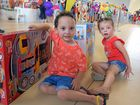 Jaxson Wyllie and his twin sister Jazmyn, 4, at the Rockhampton Special Children's Christmas Party, held at the showgrounds.Photo Amber Hooker / The Morning Bulletin