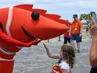 The prawn mascot was a favourite with kids at the Ballina Prawn Festival.