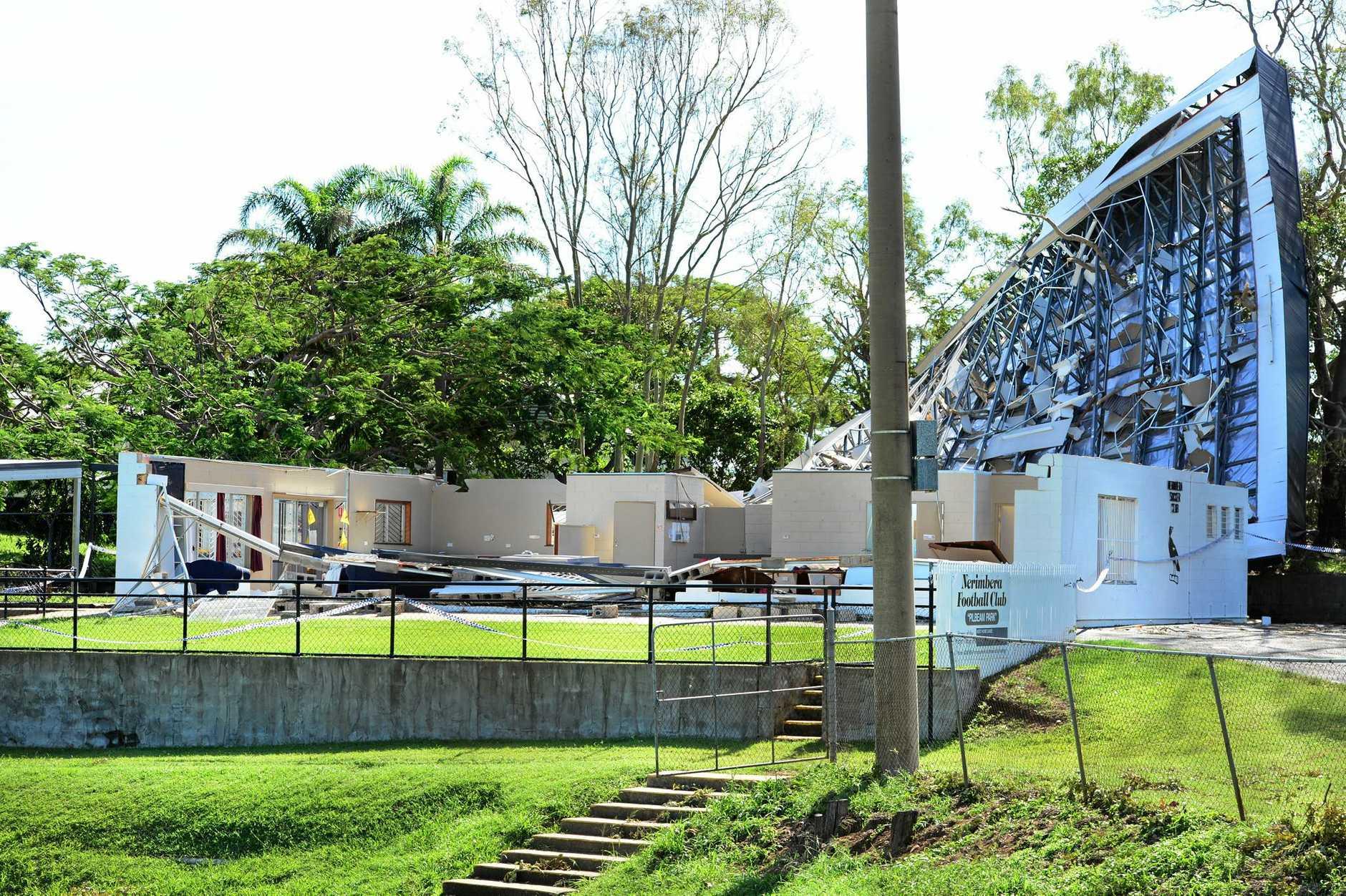 Nerimbera Soccer club lots its roof during Cyclone Marcia.  Photo Sharyn O'Neill / Morning Bulletin