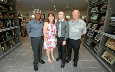 L-R Sterling McQuire, Angela Blomfield, Ricky England and Peter Allenby at the official opening of the new Nerimbera Football Club clubhouse.