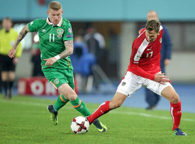 James McClean of Ireland and Forian Klein of Austria battle for the ball during the FIFA World Cup 2018 Group D qualifying match at the Ernst Happel Stadium in Vienna.