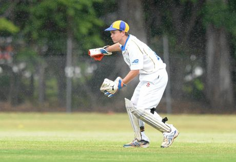 Capricorn Coast bowler wicket keeper Gerard Moriarty in the cricket game against Gracemere at the Rockhampton Cricket Grounds.