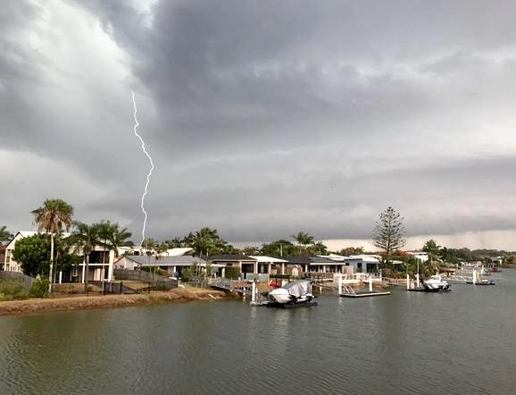 A lightning strike captured from Mooloolaba during Saturday's storm.
