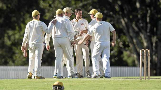 Chris Hall and NBD team mates celebrate the wicket of Lyle Teske, Met Easts. TCI semi final, Met Easts vs Northern Brothers Diggers. Saturday 12 Mar , 2016.