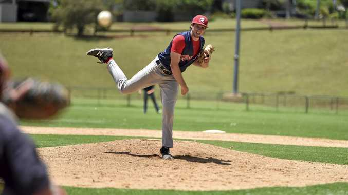 ON SONG: Canadian import Ian Horne pitches for Toowoomba Rangers against Runcorn Indians at Commonwealth Oval.