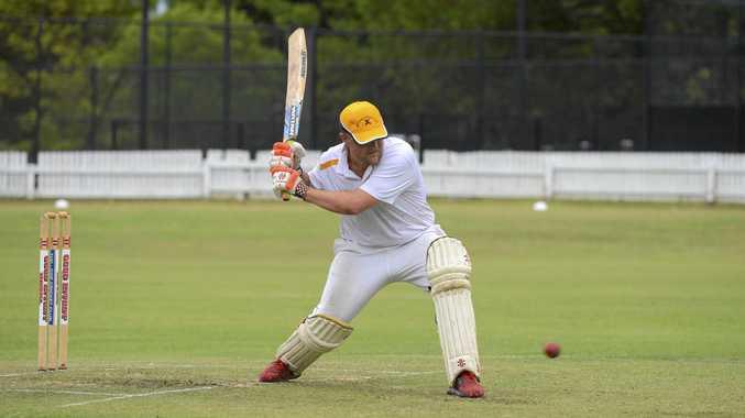 BIG HIT: Westlawn batsman Jason Rainbow winds up during the CRCA premier league clash against Tucabia at Ellem Oval.