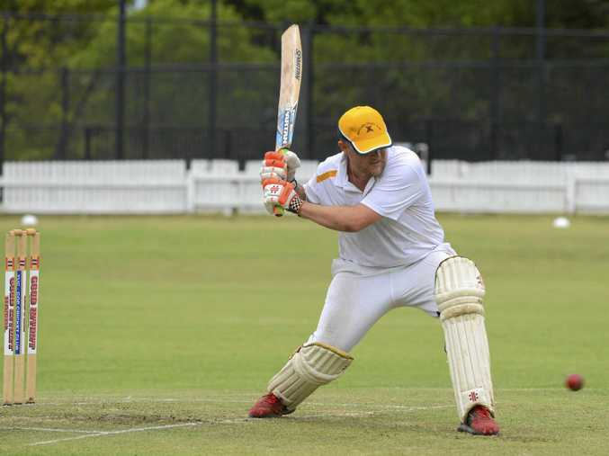 BIG HIT: Westlawn batsman Jason Rainbow winds up during the CRCA premier league clash against Tucabia at Ellem Oval.