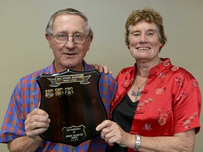 EFFORTS RECOGNISED: Terry West with his wife Marianne after he was presented with the Max Godbee Sports Award at the annual Clarence Valley Sports Awards and (RIGHT) Anton Sluyters in action for Yamba Breakers FC.