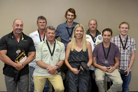 2016 Senior Sports Star finalists (from left back row) Brad Clarke, Greg Mears, Hamish Denshire, John Matthews, and Luke Mitchell. (Front row) Michael Russ, Joe Okeeffe (accepting was Emily Brown) and Mitch Christiansen are at the annual Clarence Valley Sports Awards at the Grafton District Services Club on Saturday night, 12th November, 2016.