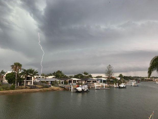 Lightning strikes over Mooloolaba.