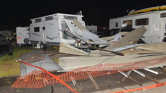 Storm damage at the Dicky Beach Caravan Park.