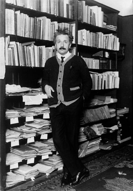 An archival image of Professor Albert Einstein at home circa 1925.