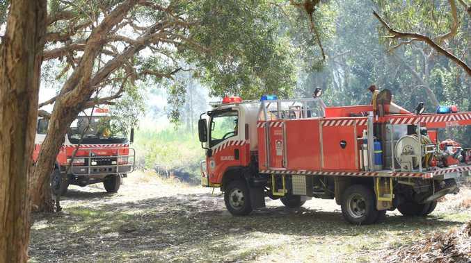 Fire trucks at the scene.