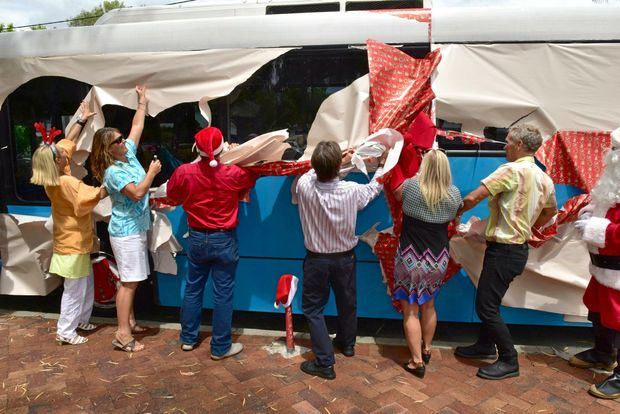 Noosa Council launches their free Xmas bus at shire chambers last year.