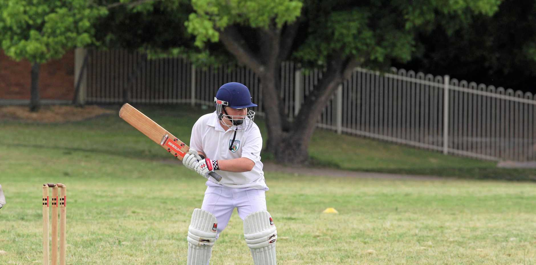 Nick Lawer braces for the ball at Stanthorpe Junior Cricket on Saturday.