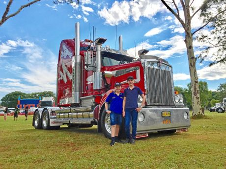 Below: Luke and Ryan Johnston with their dad's truck at the Mullumbimby Show and Truck Parade.