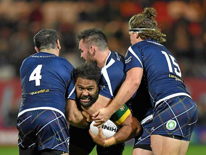 Australia's Sam Thaiday suffered a head clash in the win over England.