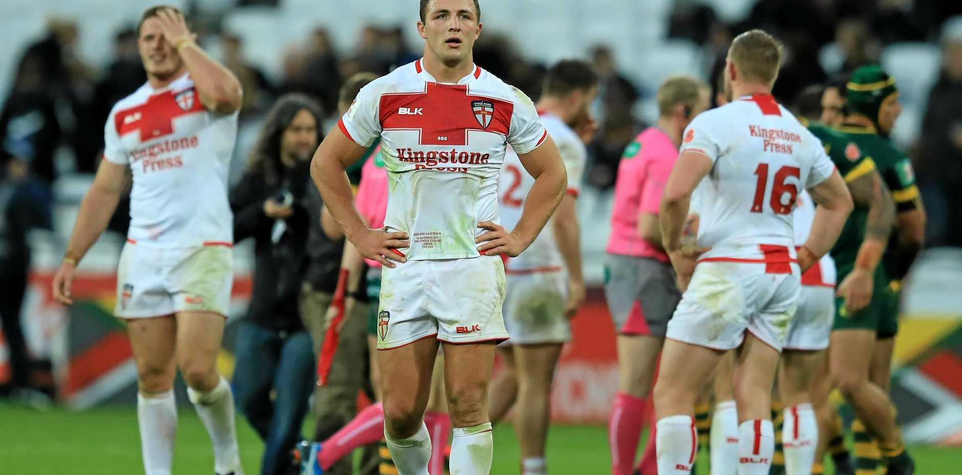 Sam Burgess looks dejected after the Four Nations match between the England and Australia.