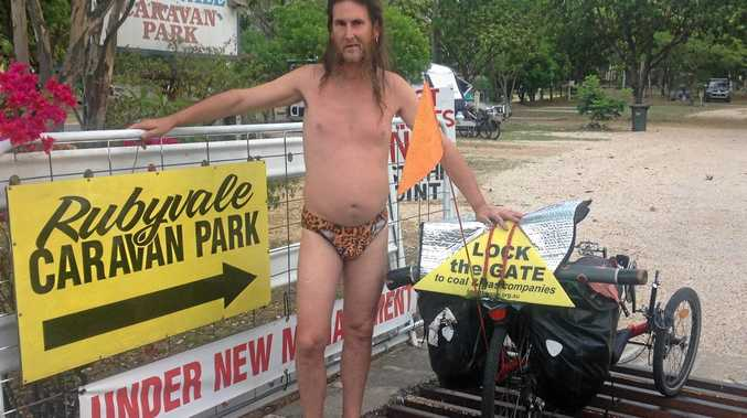 Chris Horton, aka the Bogan with a Slogan is on a tour from Gracemere to Darwin.