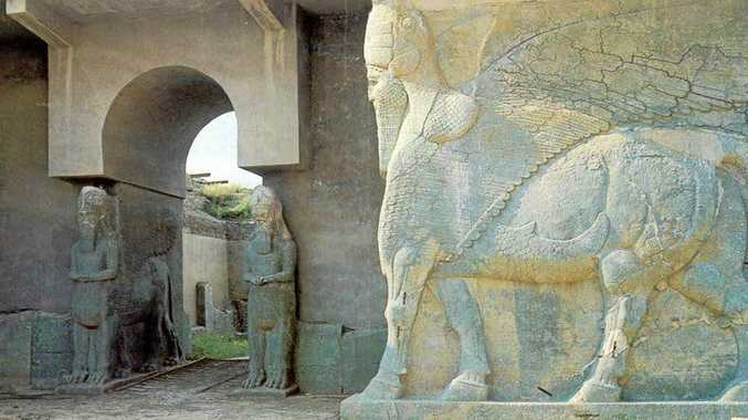 A lamassu at Nimrud that was destroyed by Islamic State.