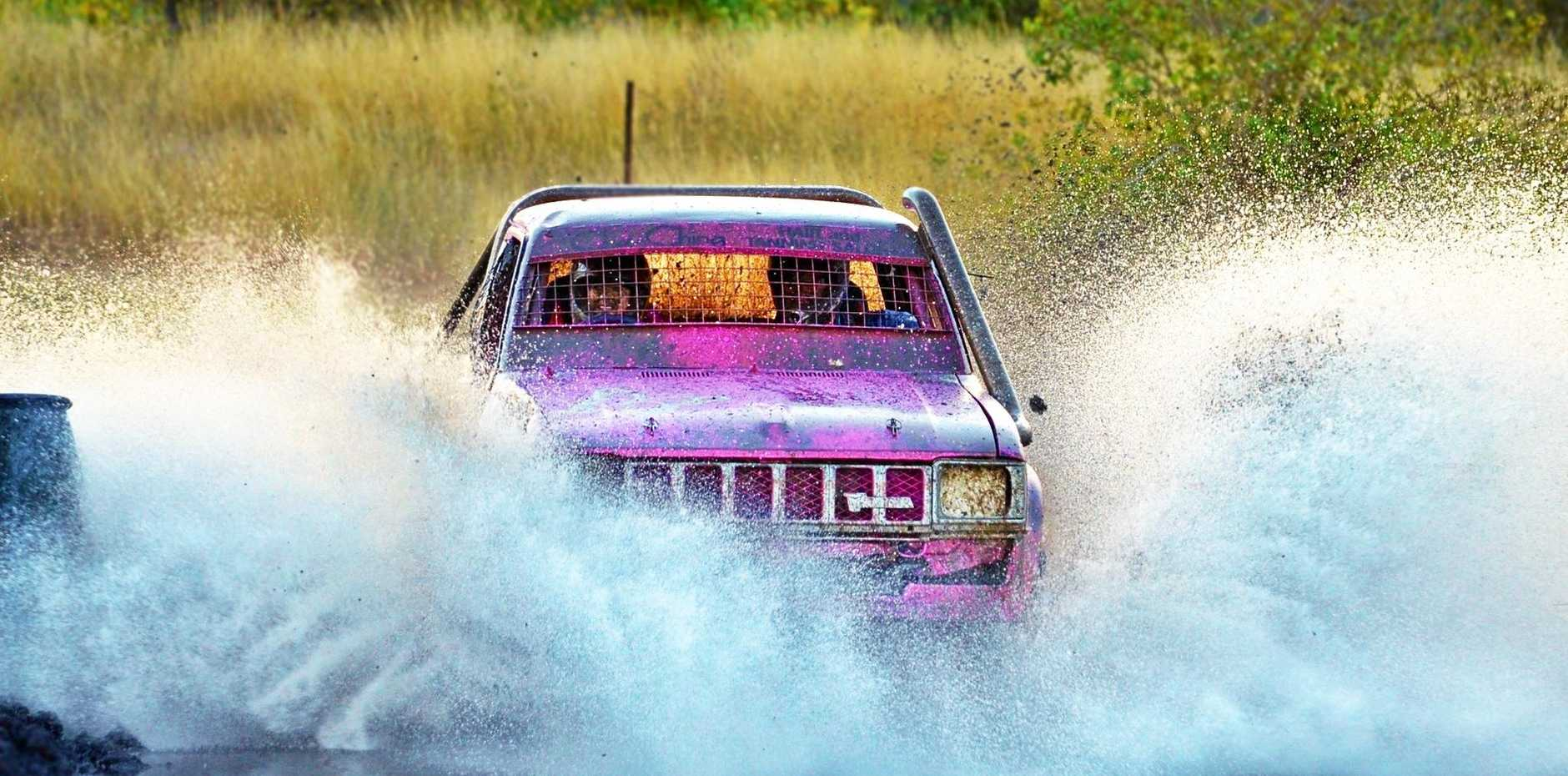 Robyn Baker in Dolly tears up the circuit at Kabra during the CQ Mudsportz Twin Track meet on Saturday.