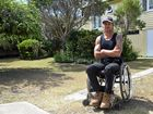DISGUSTED: Jason Holohan outside the house in Berserker where his ute, trailer and personal items were stolen. INSET: Better times, Jason playing for the Rockwheelers.