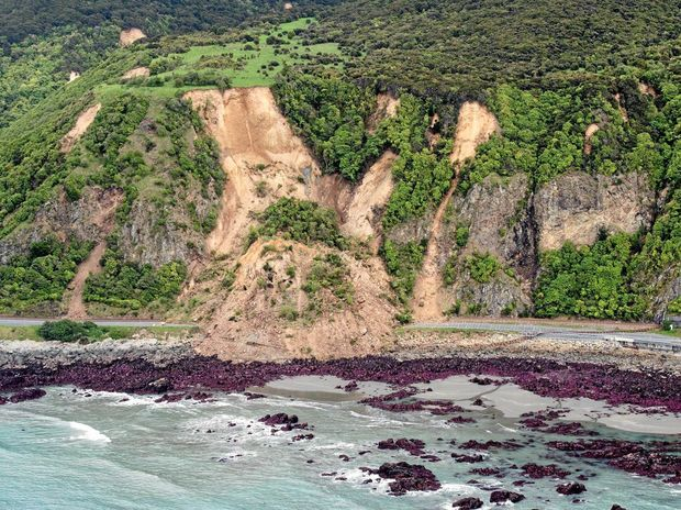 DAMAGE: A supplied image obtained Monday. Nov. 14, 2016. A photo taken during the aerial surveys by Royal New Zealand Air Force aircraft showing damage to infrastructure following the 7.5 magnitude Hanmer Earthquake near Kaikoura coast, New Zealand. (AAP Image/ NZ Defence Force) NO ARCHIVING, EDITORIAL USE ONLY