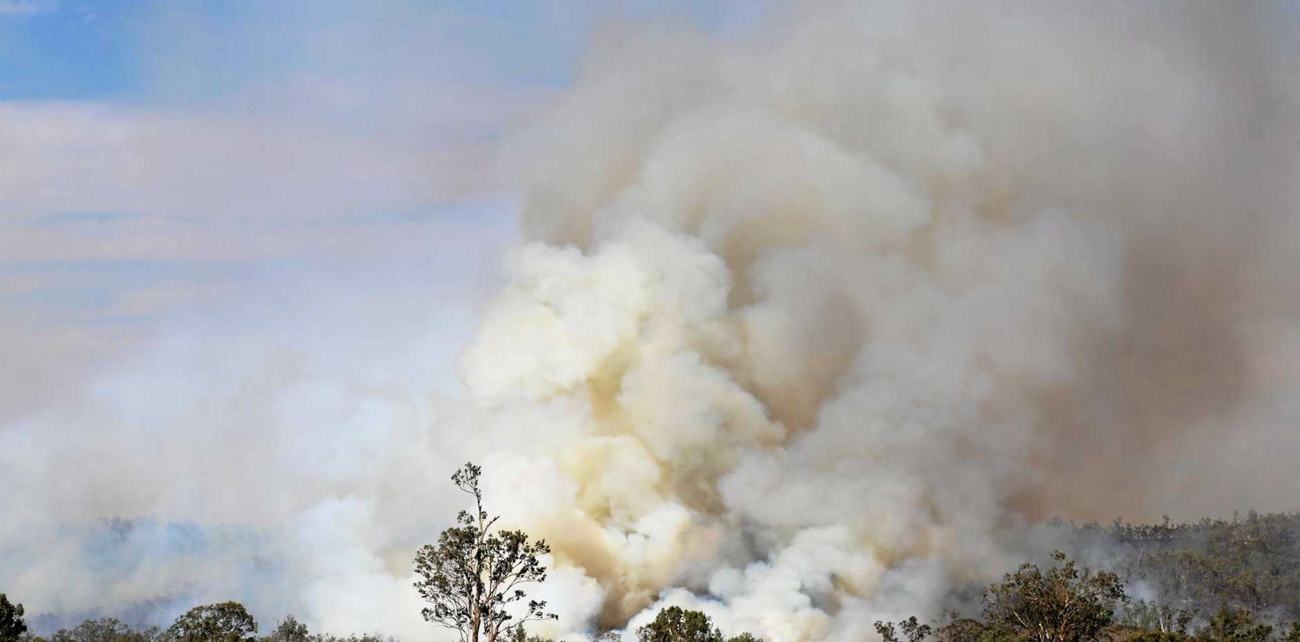 A bushfire burning at Cattles Creek, just west of Mundubbera.