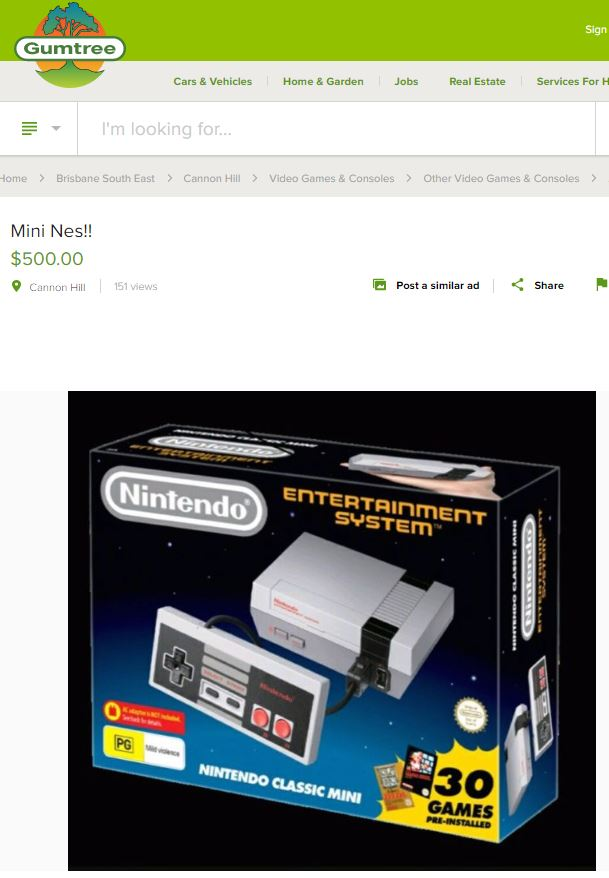 Canny buyers who somehow scored a Classic NES wants $500 for the $99.95 machine, in the hope that the richer fans will think it's a decent deal.