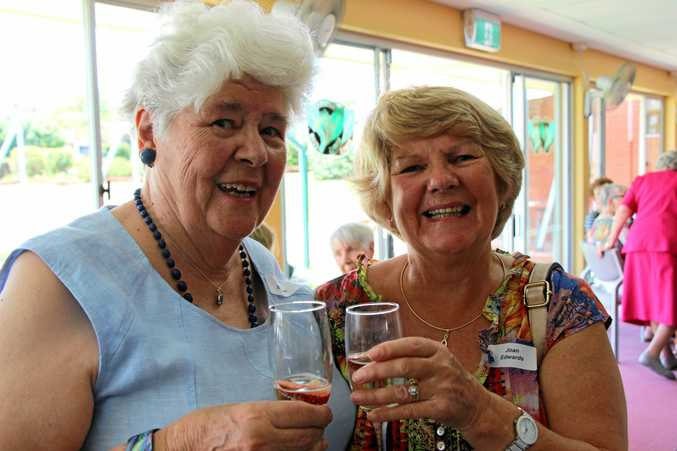CHEERS: Rita Zeichner and Joan Edwards at the Buderim Ladies Bowling Club's anniversary luncheon.