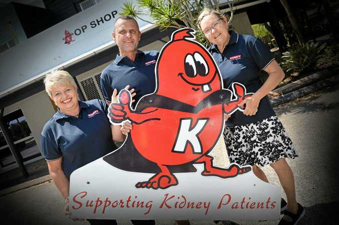 SUPPORT US: Cathy Rayner, Barry Collett and Annette Thompson at the opening fundraising day for the Currimundi op shop that is raising funds to purchase a car to help kidney disease patients get to their dialysis appointments.