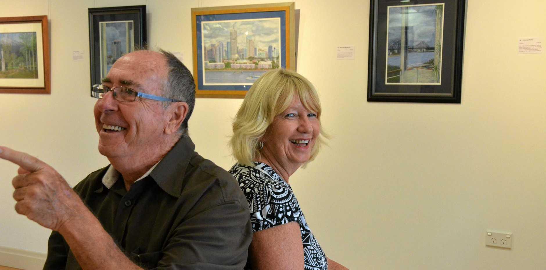 LOVE OF ART: Wendy Kirk and Rob Miller at the Gayndah Art Gallery.